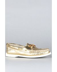 Sperry Top-Sider The Two Eye Boat Shoe in Gold Metallic Snake - Lyst