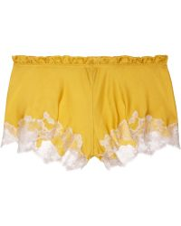 Carine Gilson Thème Louise Lace-trimmed Silk-satin Shorts - Lyst