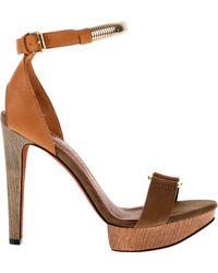 Lanvin Satin-finished Camel Calfskin Sandals with Wooden Heel and Platform - Lyst