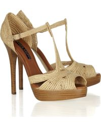 Ralph Lauren Collection Jedina Raffia and Leather Sandals - Lyst