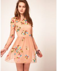 ASOS - Asos Skater Dress with Embellishment - Lyst