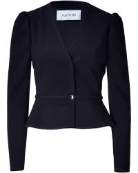 Valentino Black Cropped Wool Blend Jacket - Lyst