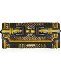 Burberry Prorsum - Woven Leather and Cotton Clutch - Lyst