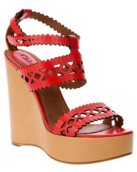 Chloé Wedge Sandal beige - Lyst