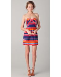 Shoshanna Frannie Striped Strapless Dress - Lyst