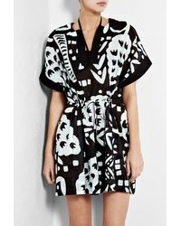 Diane Von Furstenberg Black and Pale Blue Printed Kaftan - Lyst