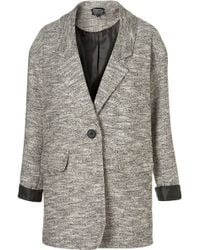 Topshop Lightweight Tweed Boyfriend Coat in Gray | Lyst