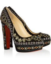Christian Louboutin Devidas 140 Embellished Suede Pumps - Lyst