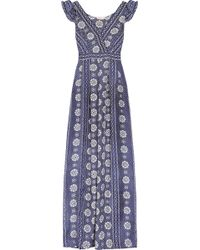 Collette by Collette Dinnigan - Printed Silk Maxi Dress - Lyst
