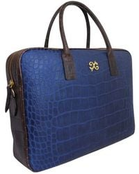 Alexandra De Curtis Charlotte Laptop Bag Bluedark Brown Crocodile P - Lyst