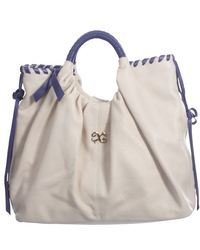 Alexandra De Curtis Alexis Tote Cream and Blue - Lyst