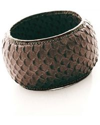 Alexandra De Curtis Espresso Snakeskin Print Leather Bangle Sale Ite - Lyst