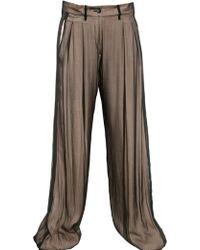 Ann Demeulemeester Silk Chiffon On Techno Crepe Trousers - Lyst