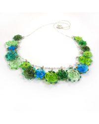 Sari Glassman Ooak Lemon Grass Funky Discs Glass Necklace - Lyst