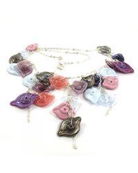 Sari Glassman Pink Leaves Ooak Necklace - Lyst