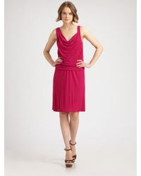 Theory Cowl-Neck Jersey Dress - Lyst