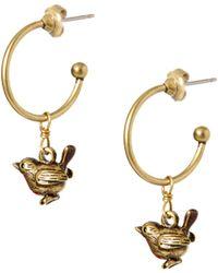 Cath Kidston - Antique Brass Robin Hoop Earrings - Lyst