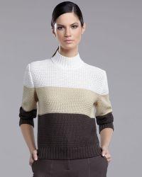 St. John Yellow Label   Crochetknit Colorblock Sweater   Lyst