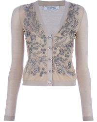 Valentino Beaded Cardigan - Lyst
