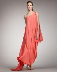 Halston Heritage Oneshoulder Cascade Gown - Lyst