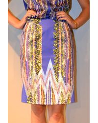 Jen Kao Stretch Cotton Print Ion Pencil Skirt - Lyst