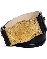 Balmain Black Leather Belt with Gold Buckle - Lyst