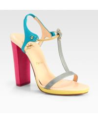 Christian Louboutin Sylvieta Leather and Chain Colorblock T-strap Sandals - Lyst