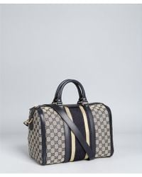 Gucci Navy and Gold Trim Gg Canvas Vintage Web Boston Bag - Lyst