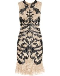 Alexander McQueen Lasercut Patentleather and Lace Dress - Lyst