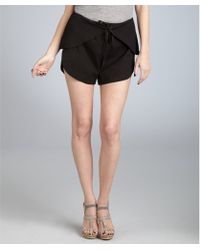 Cynthia Rowley - Black Cotton Scalloped Tie Waist Shorts - Lyst