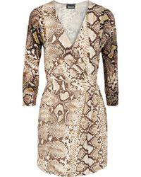 Just Cavalli Printed Stretch-jersey Wrap Dress - Lyst