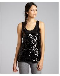 See By Chloé Black Sequined Scoop Neck Tank - Lyst