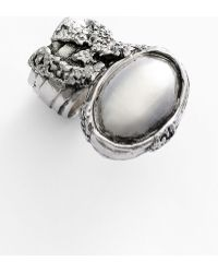 Saint Laurent Arty Oval Metal Ring - Lyst