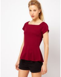 ASOS Collection Asos Top with Square Neck and Peplum - Lyst