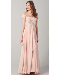 Marchesa Off The Shoulder Gown with Beading - Lyst