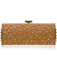 Elie Saab Long Structured Leather and Crystal Clutch - Lyst