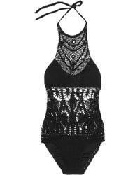 Lisa Maree - The Feathering Peacock Crocheted Cotton Blend Swimsuit - Lyst
