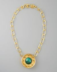 Stephanie Anne Malachite Pendant Necklace gold - Lyst
