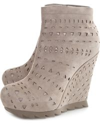 Camilla Skovgaard The Saw Ankle Wedge Boots Perforated - Lyst