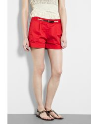 Michael by Michael Kors Red Rope Waistband Pleated Shorts - Lyst