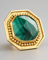 Stephanie Anne Malachite Ring gold - Lyst