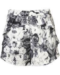 Topshop Poppy Print Frill Pocket Shorts - Lyst