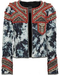 Isabel Marant Weez Embellished Tiedye Quilted Denim Jacket - Lyst