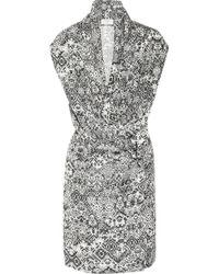 Saint Laurent Printed Silkhabotai Dress gray - Lyst
