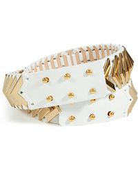 Balmain White Studded Leather Belt - Lyst