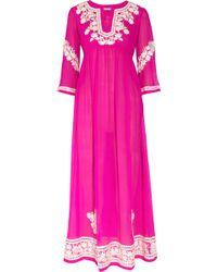 Leaves Of Grass - Udolfo Silk Chiffon Maxi Dress - Lyst