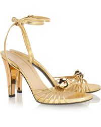 Gucci Metallic Leather Sandals - Lyst
