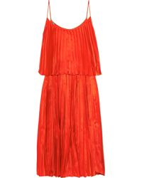 Halston Heritage Pleated Silk Satin Dress - Lyst