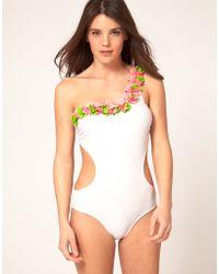 Asos Asos Petal One Shoulder Swimsuit - Lyst