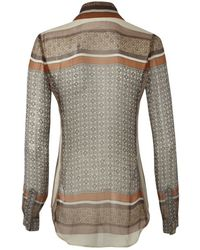 L'Agence Lagence Scarf Print Blouse Brown - Lyst